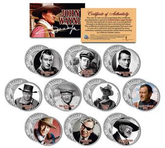 John Wayne Movies Colorized JFK Half Dollar 10 Coin Set