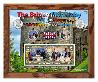 """British Monarchy Then & Now Colorized Coin & Currency Set in 8"""" x 10"""" Frame"""