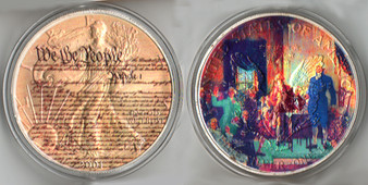 """""""We The People"""" Colorized Silver Eagle in Case"""