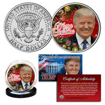 Donald Trump Merry Christmas Colorized JFK Half Dollar
