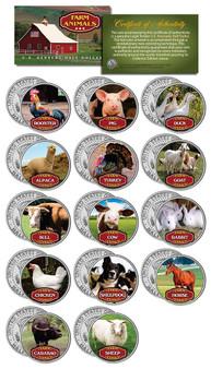 Complete Set of 14 Farm Animal JFK Half Dollars