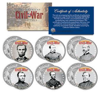 American Civil War Leaders 6 Coin JFK Half Dollar Sets - Union
