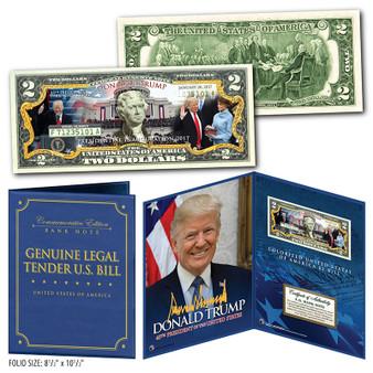 """Donald Trump 2017 Official Inauguration Commemorative Colorized $2 Bill in 8""""x10"""" Folio"""