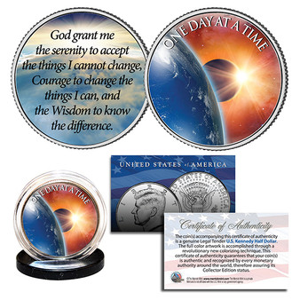 One Day at a Time Sun Moon Earth Serenity Prayer U.S. JFK Half Dollar Holy Coin