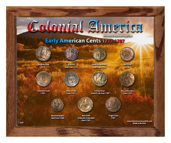 """Early American Cents Historical Replica Set in 8"""" x 10"""" Frame - H"""
