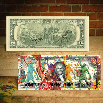 Rency Art Michael Jordan Sometimes I Dream That He Is Me Colorized $2 Bill Hand-Signed by Rency