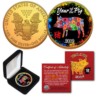 2019 Lunar Year Of The Pig 24K Gold Clad 1 Oz. Silver Eagle PolyChrome in Case