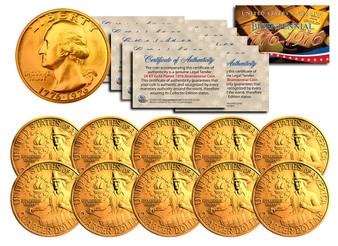 Set of 10 24K Gold Plated Bicentennial Quarters