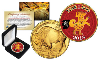 2018 Year of the Dog Colorized $50 Gold Replica Tribute Coin in Box