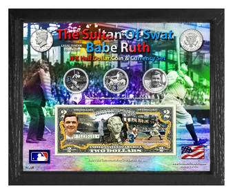 """Babe Ruth The Sultan Of Swat Colorized Coin & Currency Set in 8"""" x 10"""" Frame"""