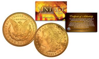24K Gold Plated 1921 Silver Morgan Dollar in Case