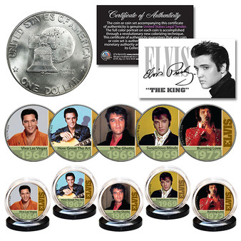 ELVIS PRESLEY 1960's-70's Music Hits 1976 Bicentennial IKE Dollar 5 Coin Set