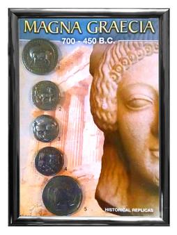 """Magna Graecia 700-450 BCE 5 Coin Set of Historical Replicas in 5"""" x 7"""" Frame"""