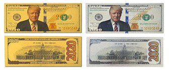 Both Gold & Silver Trump 2020 Novelty Bills