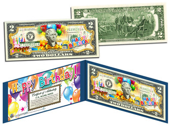 Happy Birthday Colorized $2 Bill