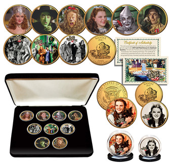 Wizard Of Oz Kansas Quarter Gold Plated ULTIMATE 9-Coin Set w/Case & 2 Free Coins