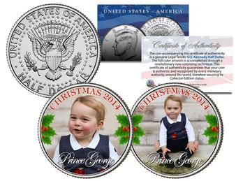 Prince George 2014 Christmas Colorized JFK Half Dollar 2 Coin Set