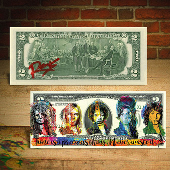 27 Club Red Signature Genuine $2 U.S. Bill Signed by Rency