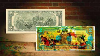 Rency Art American Pharoah Colorized $2 Bill - Numbered of 215