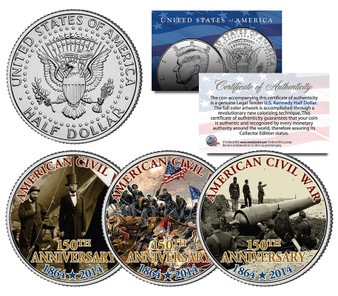 Civil War 150th Anniversary 3 Coin JFK Half Dollar Set