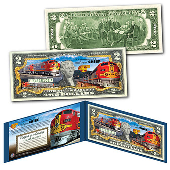 Super Chief Train of the Stars Santa Fe Railroad Colorized $2 Bill