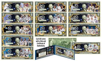 Apollo Missions NASA Astronauts Commemorative Colorized $2 Bill Complete Set of 12