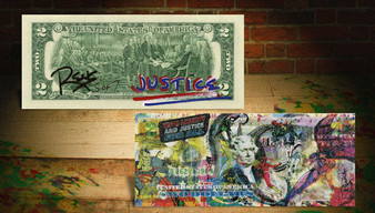 Justice League 2017 With Liberty and Justice for All Made with Diamond Dust Crystal Paint Colorized $2 Bill Hand Signed Limited Edition of only 7 World Wide