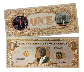 Trump $1 White Gold Novelty Bill in Clear Protective Sleeve