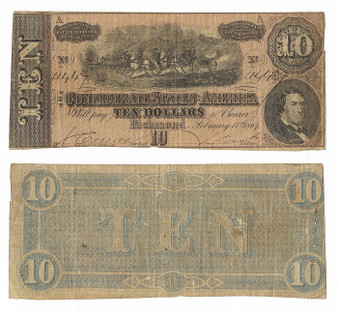 Confederate Currency 1864 $10 Note SN 11447