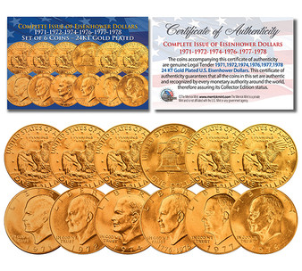 """Eisenhower """"Ike"""" Dollars 6 Coin Set 24K Gold Plated Complete Set of all Years 1971-1978 With Capsules"""
