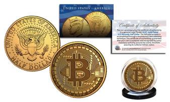 Bitcoin Crypto 24K Gold Plated Colorized JFK Half Dollar