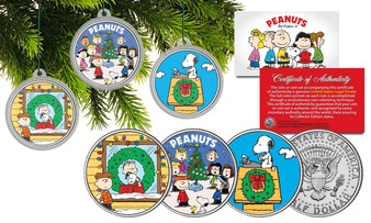 Peanuts Christmas Ornaments - Set of 3 Colorized JFK Half Dollar Tree Ornaments