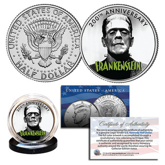 Frankenstein The First 200 Years Commemorative Colorized JFK Half Dollar