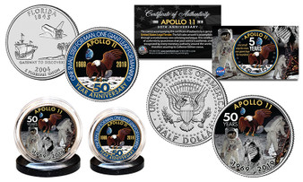 APOLLO 11 50th Anniversary Man on Moon Colorized JFK Half Dollar & Florida Quarter 2 Coin Set