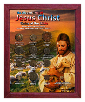 """Life & Times Of Jesus Christ """"Baby Sheep"""" Historical Replica Set in 8"""" x 10"""" Frame - V"""