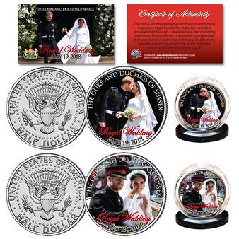 Prince Harry & Meghan Markle Official Royal Wedding Photos Colorized 2 Coin Set JFK