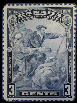 "Canada 1934 ""Jacques Cartier Arrival in Quebec"" 3 Cent Stamp #208 MNH"