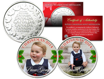 Prince George 2014 Christmas Colorized Royal Canadian Mint Medallion 2 Coin Set