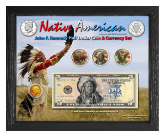 "Native American Indian Chief Colorized Coin & Currency Set in 8"" x 10"" Frame - Landscape"