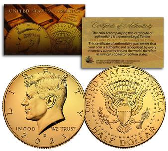 24K Gold Plated JFK Half Dollar