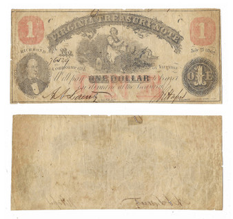 Civil War Era Note 1862 Virginia $1 Bill