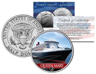 Queen Mary 2 Ocean Liner Colorized JFK Half Dollar