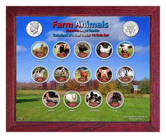 "Farm Animals Colorized JFK Half Dollar 14 Coin Set in 8"" x 10"" Frame"