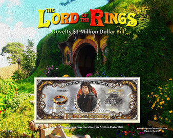 """The Lord Of The Rings Novelty Million Dollar Bill Obverse Display - Shire on an 8"""" x 10"""" Display Card"""