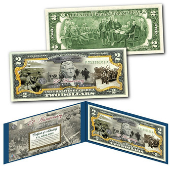 75th Anniversary End of World War II Colorized $2 Bill Normandy Landings