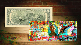 Rency Art Spiderman Amazing Fantasy Colorized $2 Bill Hand Signed