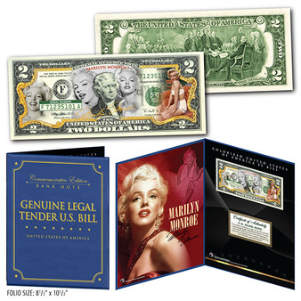 """Marilyn Monroe Multi-Image Commemorative Colorized $2 Bill in Deluxe 8"""" x 10"""" Collector's Display"""