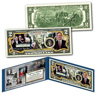 George H.W. Bush 1924-2018 Commemorative Colorized $2 Bill