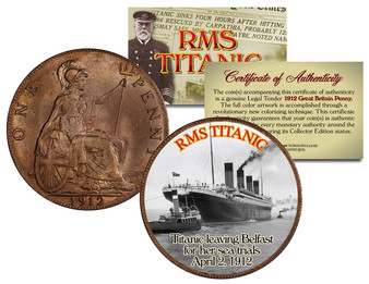 RMS Titanic Sea Trials 1912 Great Britain Penny