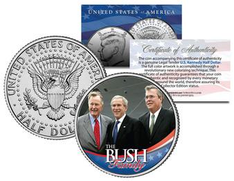 Bush Family * George HW, W & Jeb * Colorized JFK Half Dollar